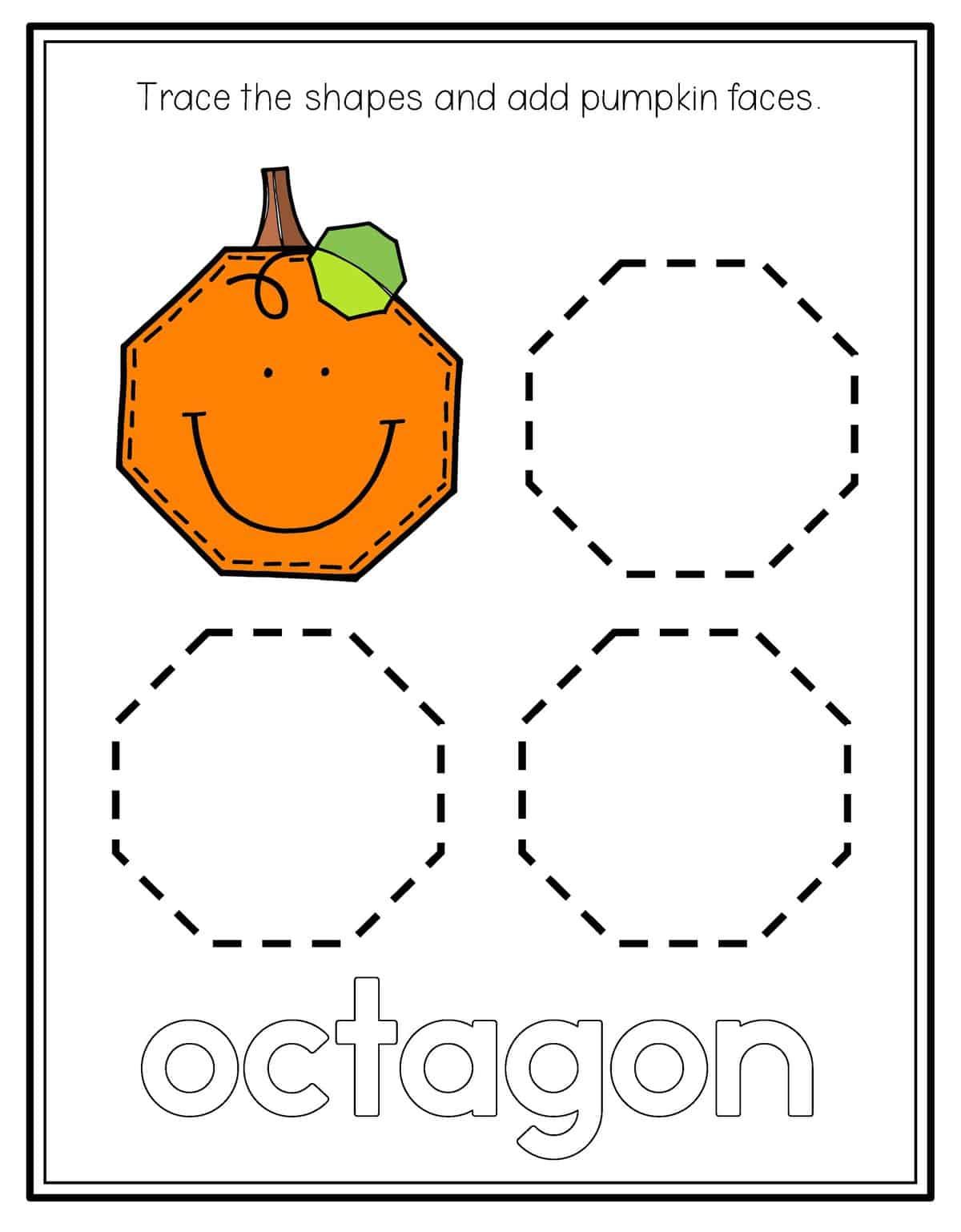Octagon Shape Preschool Worksheets | Printable Worksheets