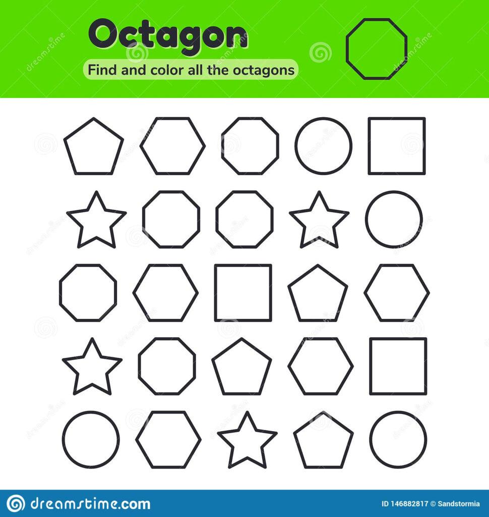Octagon Tracing Worksheet Kindergarten | Printable