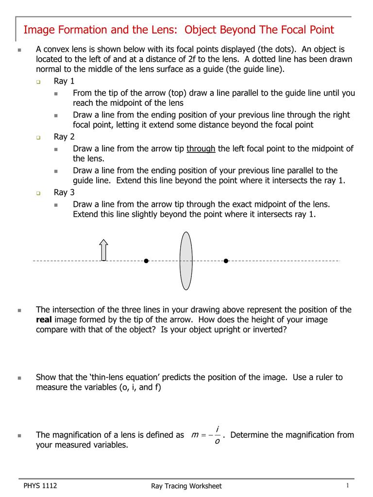 Optics Worksheet
