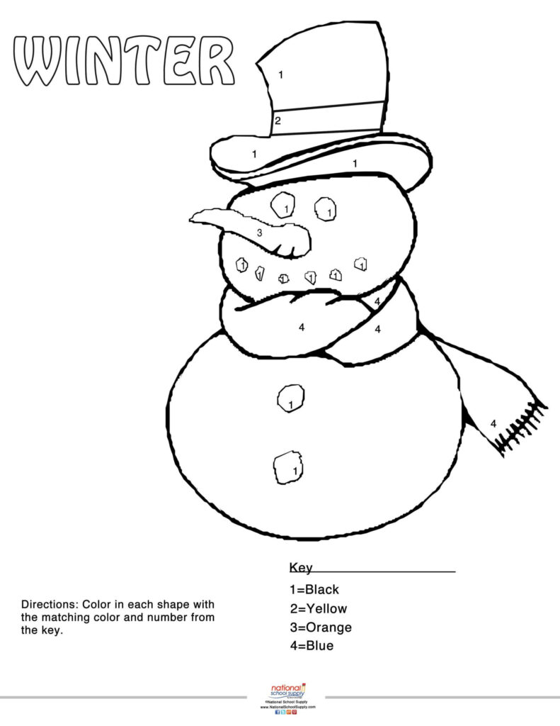 Our Winter Colornumber Snowman Printable Party Custom