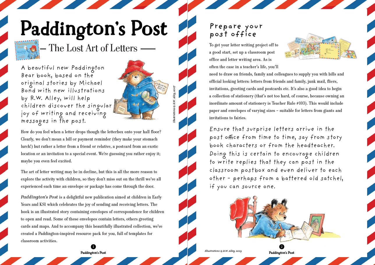 Paddington Letter Writing Lesson And Resources For Early Years for Key Stage 1 Alphabet Worksheets