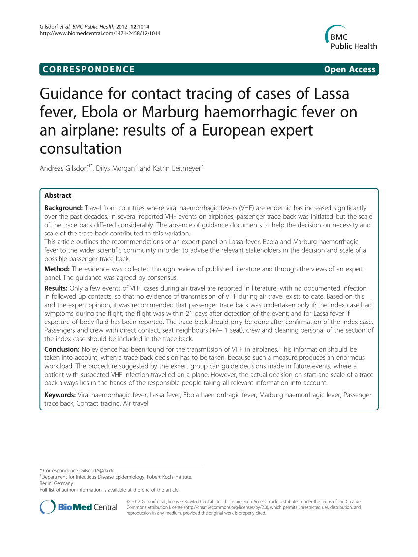 Pdf) Guidance For Contact Tracing Of Cases Of Lassa Fever