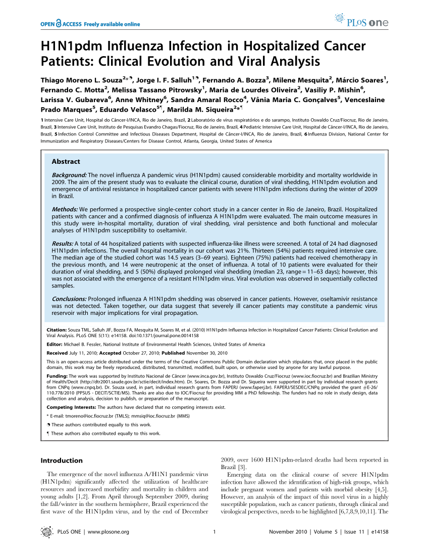 Pdf) H1N1Pdm Influenza Infection In Hospitalized Cancer