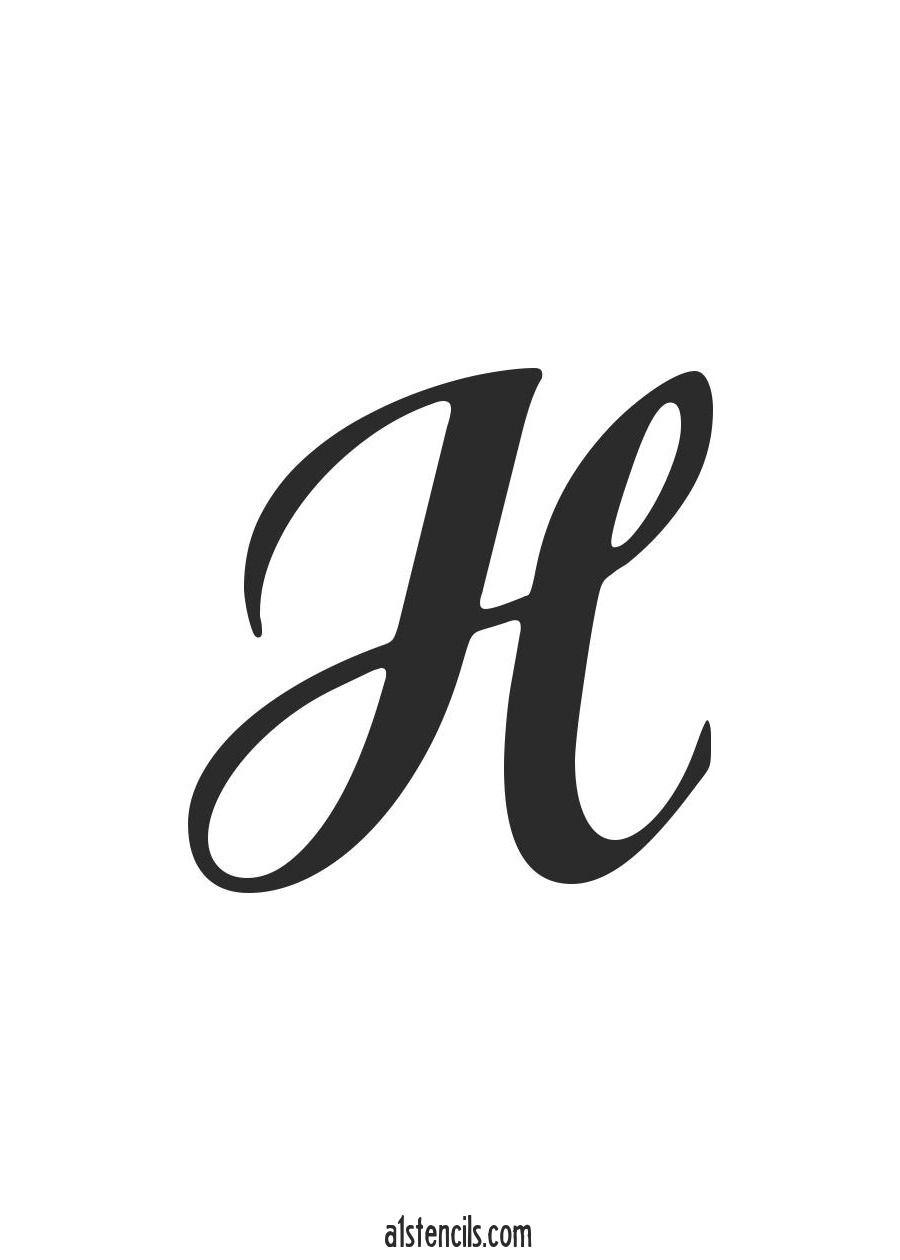 Pdf Stencil Letter Handwritten Cursive H | Cursive J