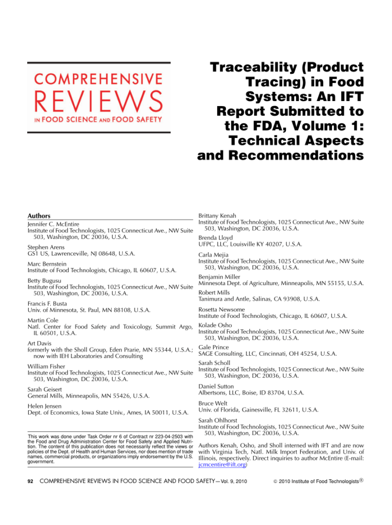 Pdf) Traceability (Product Tracing) In Food Systems: An Ift In Julian Name Tracing