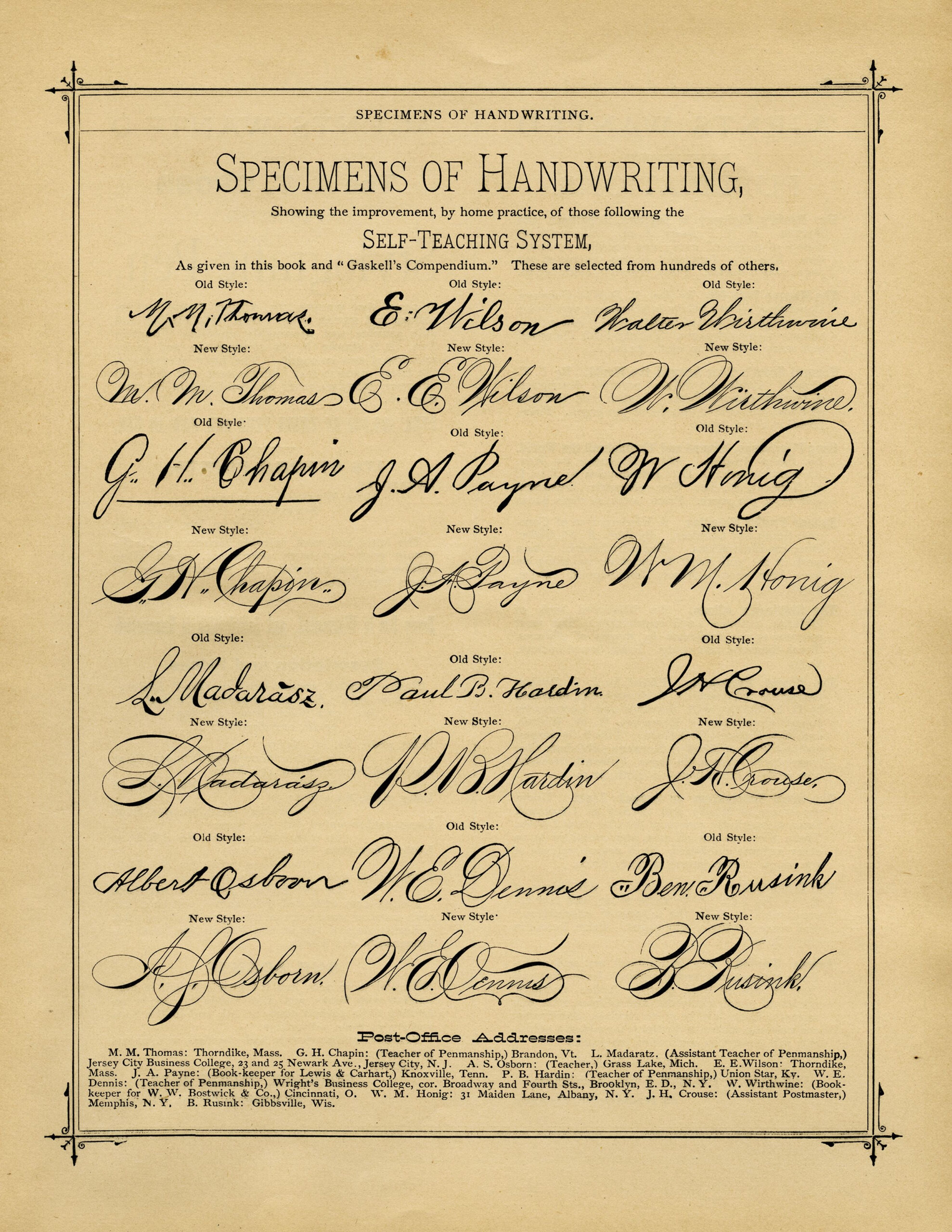 Penmanship Handwriting Specimens ~ Free Printable Vintage