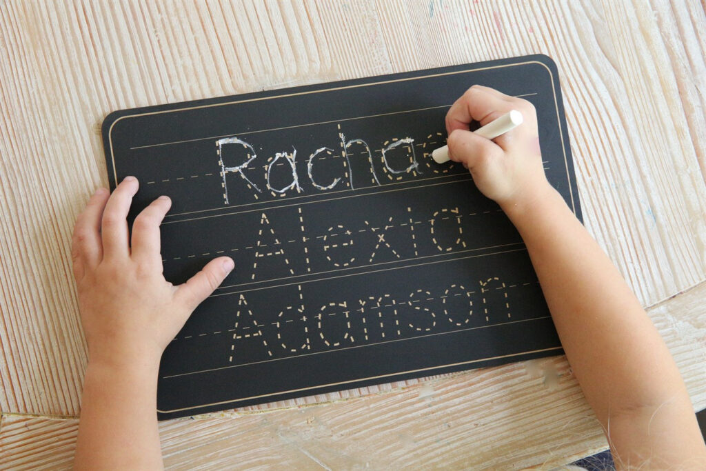 Personalized Name Trace Chalkboard Throughout Name Tracing Personalized