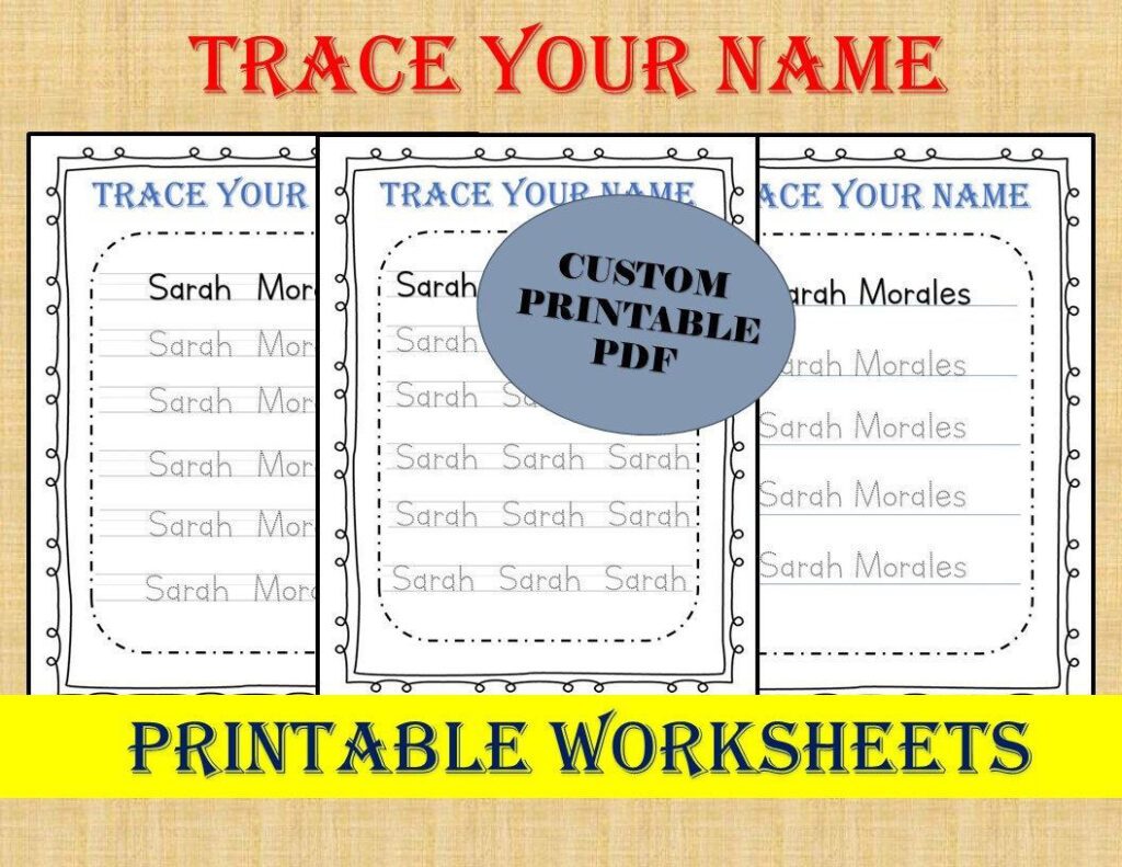 Personalized Trace Your Name Worksheets / Custom Name With Name Tracing Personalized