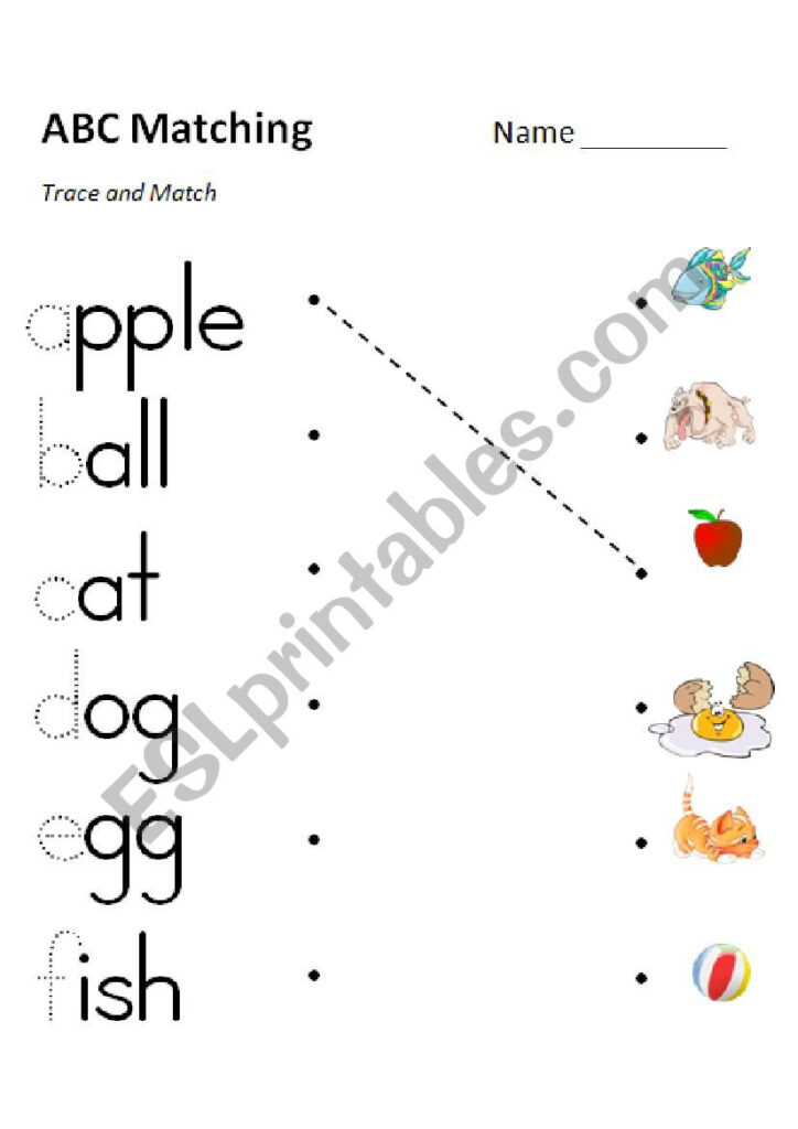 Phonics Matching Versions In Color And Grayscale Esl Pertaining To Alphabet Worksheets Matching