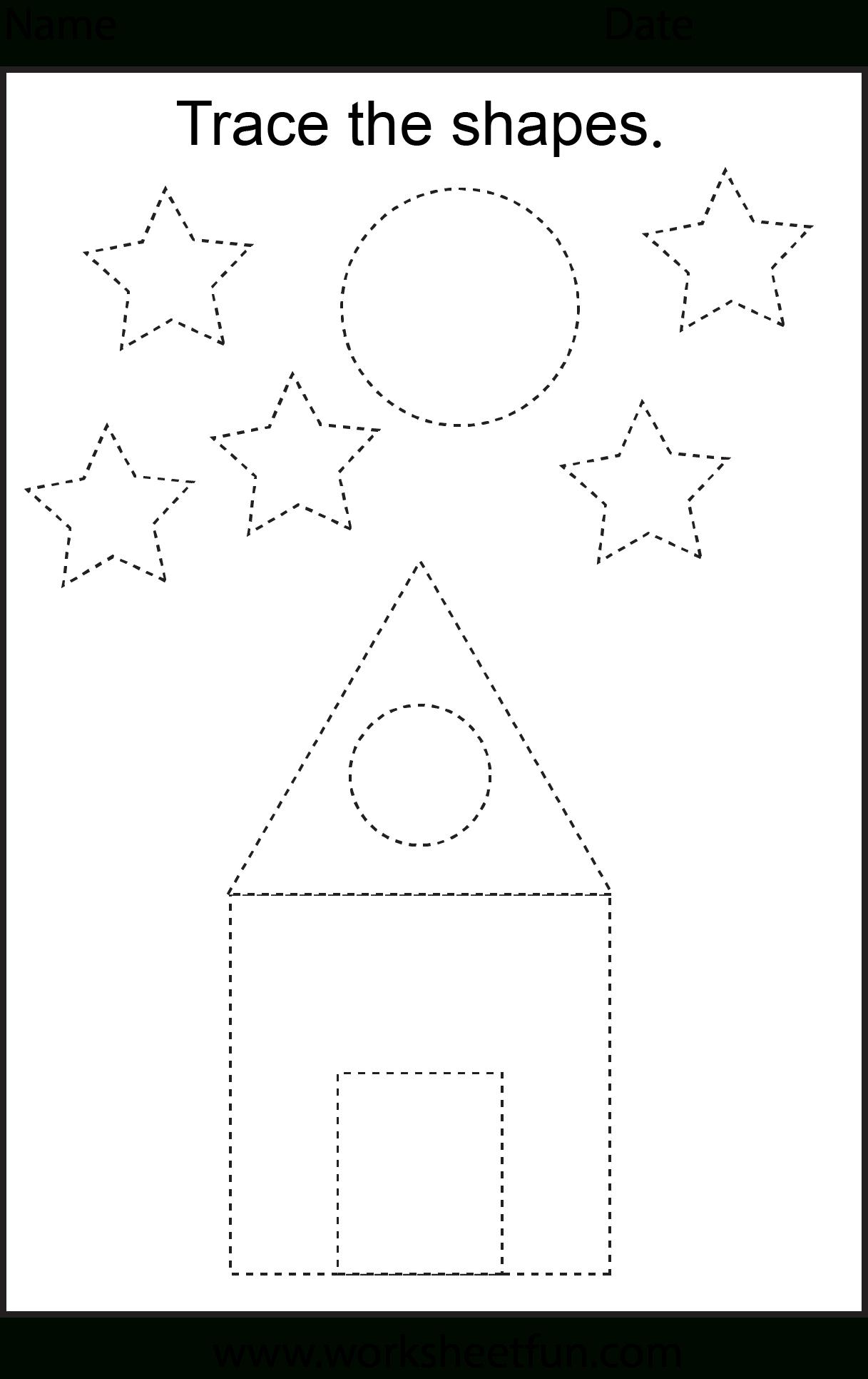 Picture Tracing – 2 Worksheets   Free Preschool Worksheets