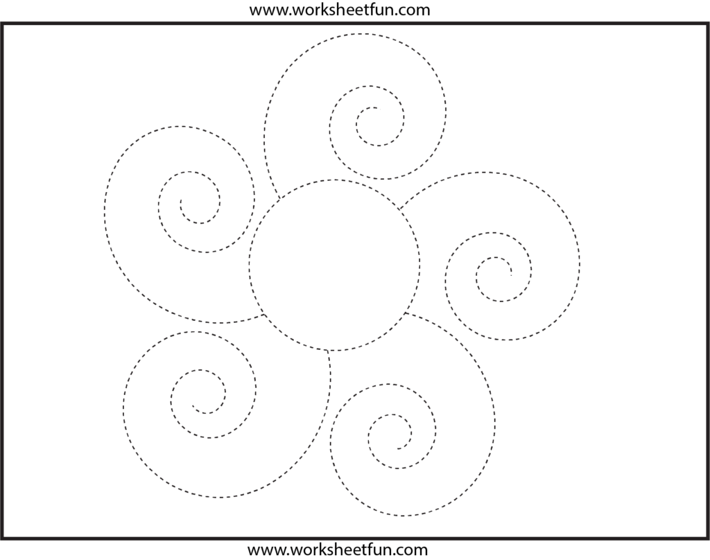 Picture Tracing – Flower – Spiral Tracing – 1 Worksheet