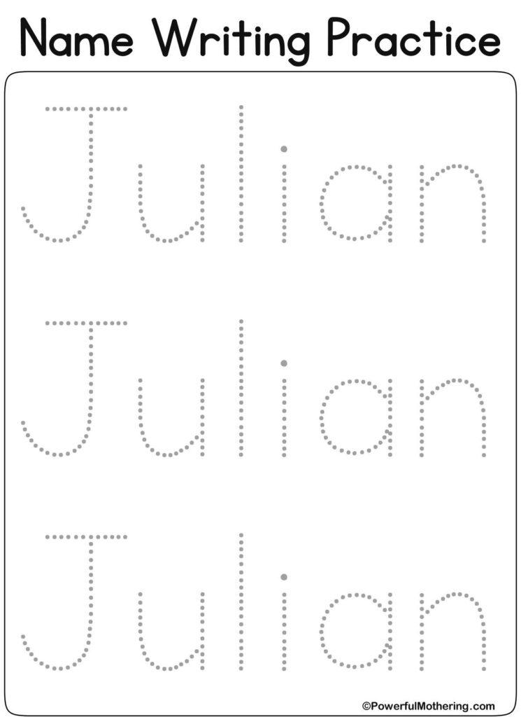 Pinanna Kucharska On Name Writing Practice | Name Throughout Julian Name Tracing