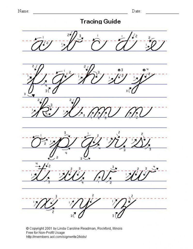 Practice Cursive Writing, Full Alphabet Lower And Upper Case
