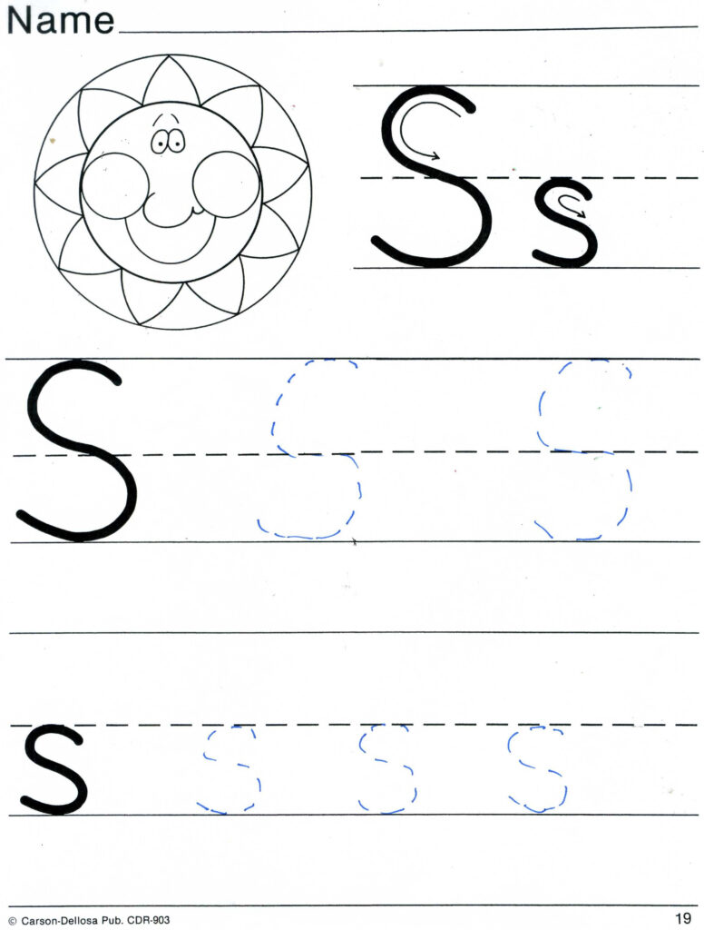 Practice Sheets For Parents Intended For S Letter Tracing