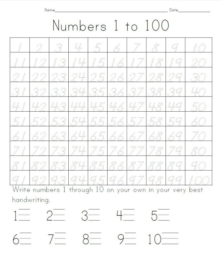 Practice Writing Numbers 1 100   Crystal Hoffman Handwriting
