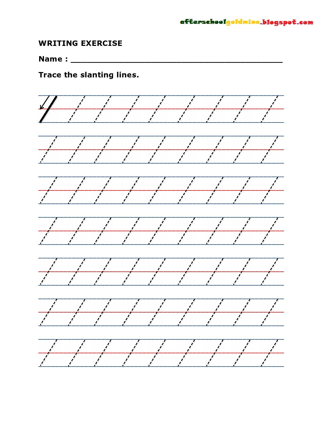 Practice Writing Slanting Or Diagonal Lines | Tracing