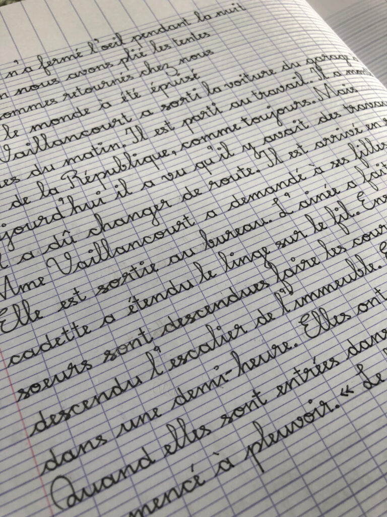 Practicing French Cursive While Practicing The French