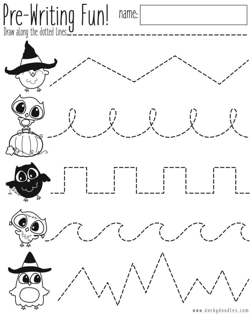 Pre Writing Practice Halloween Worksheet – Dorky Doodles