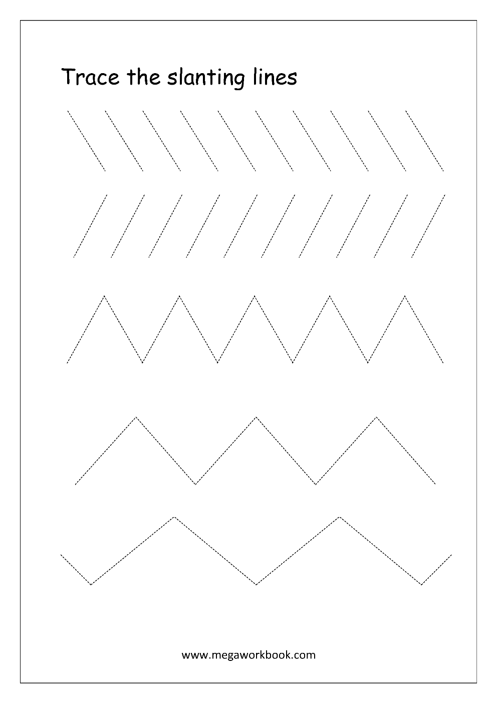 Pre-Writing Worksheets (Line And Curve Tracing) | Tracing