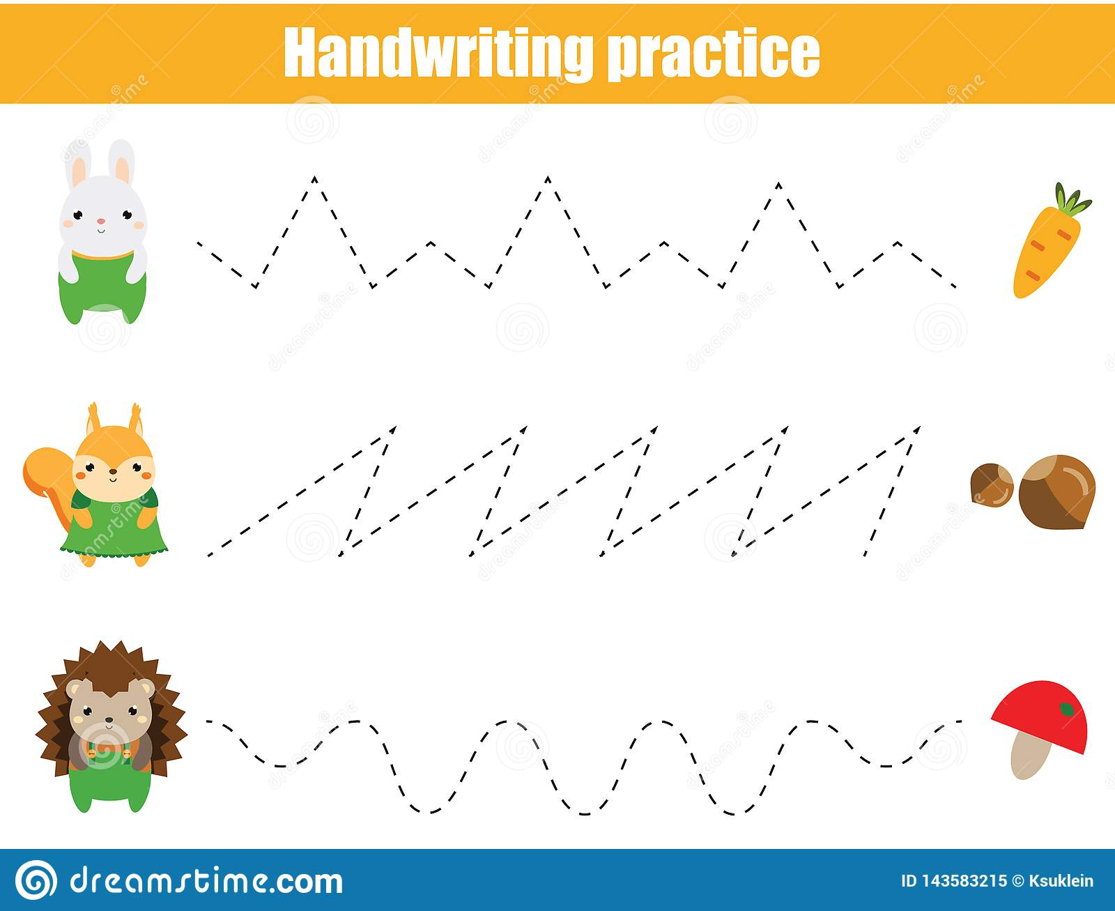 Preschool Handwriting Practice Sheet. Educational Children