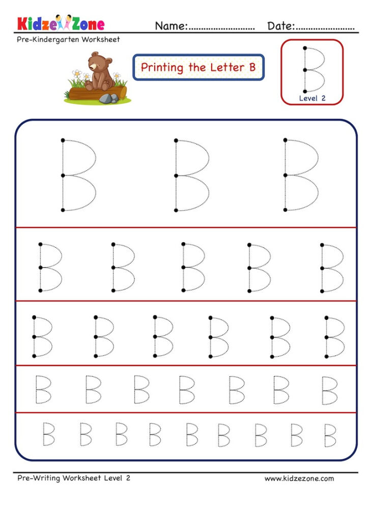 Preschool Letter B Tracing Worksheet   Different Sizes