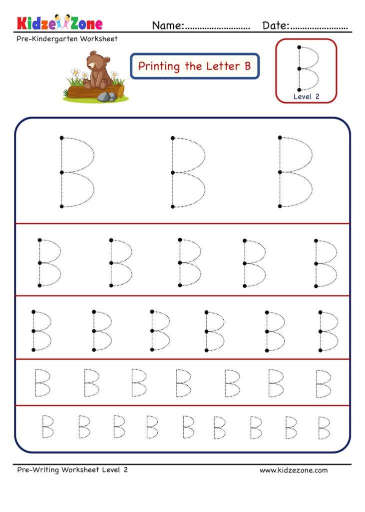 Preschool Letter B Tracing Worksheet   Different Sizes With B Letter Tracing Worksheet