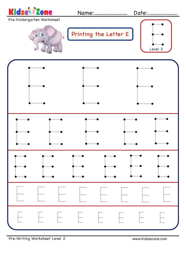 Preschool Letter E Tracing Worksheet   Different Sizes Throughout E Letter Tracing