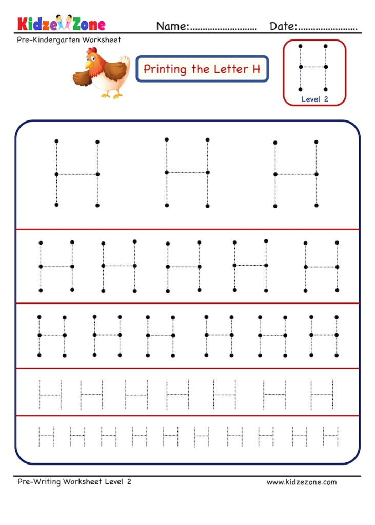 Preschool Letter H Tracing Different Sizes   Kidzezone Regarding Letter H Tracing Preschool