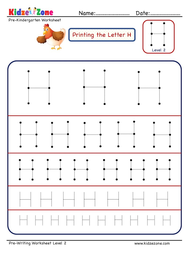 Preschool Letter H Tracing Different Sizes - Kidzezone regarding Letter H Tracing Preschool