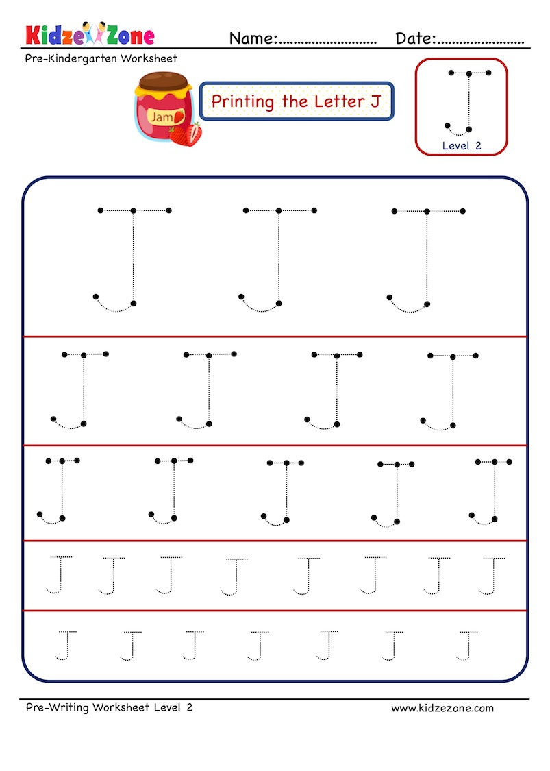 Preschool Letter J Tracing Worksheet - Different Sizes regarding Letter Tracing J