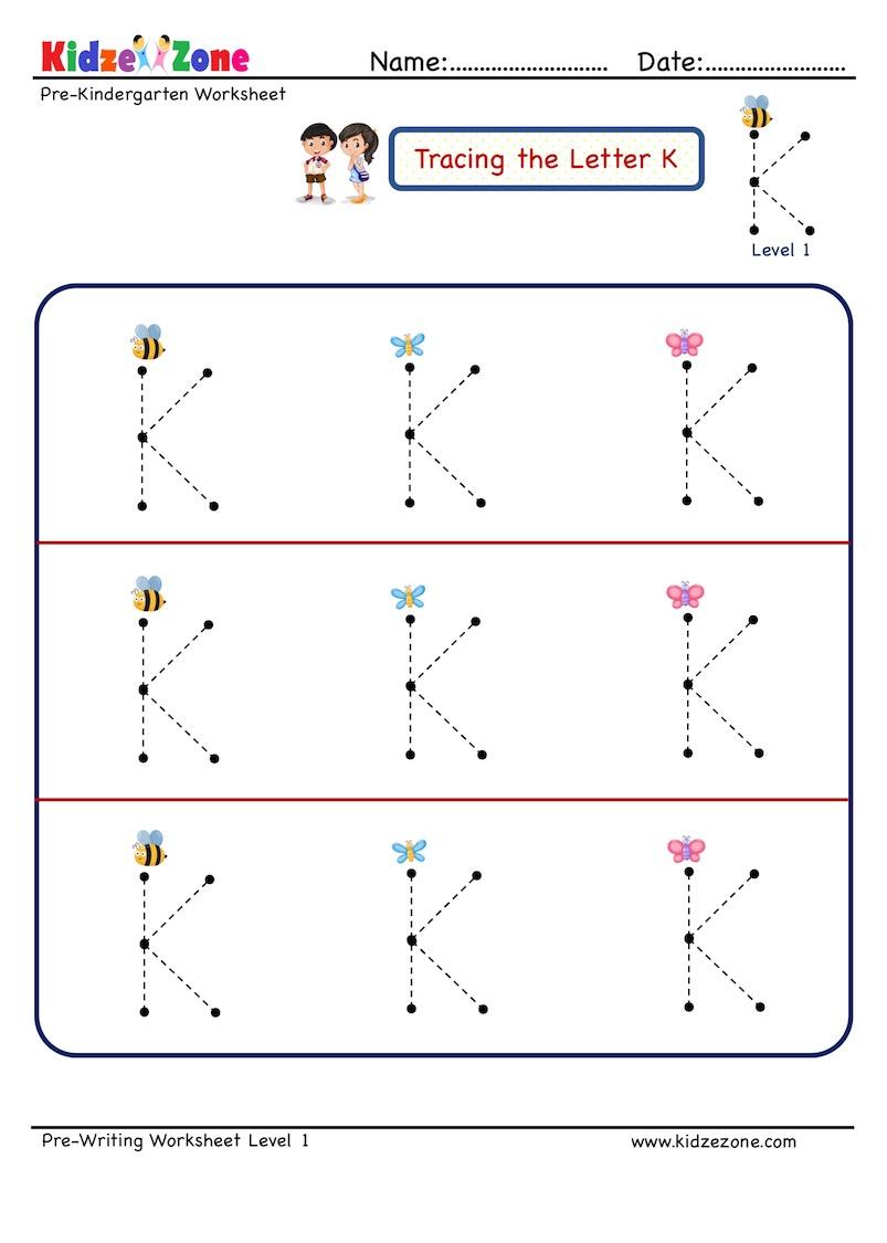 Preschool Letter K Tracing Worksheet - Big Font - Kidzezone in Alphabet Tracing Letters Font
