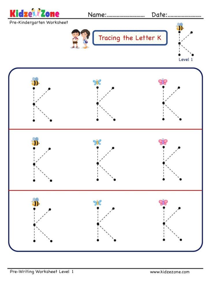 Preschool Letter K Tracing Worksheet   Big Font   Kidzezone With Regard To Letter K Tracing Worksheets