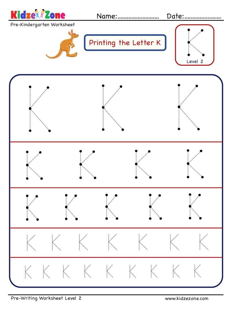 Preschool Letter K Tracing Worksheet - Different Sizes in Letter K Tracing Worksheets