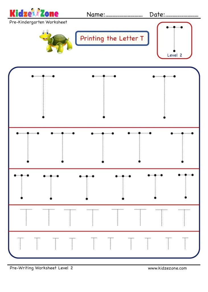 Preschool Letter T Tracing Worksheet Different Sizes   Kidzezone Inside Letter T Tracing Worksheet