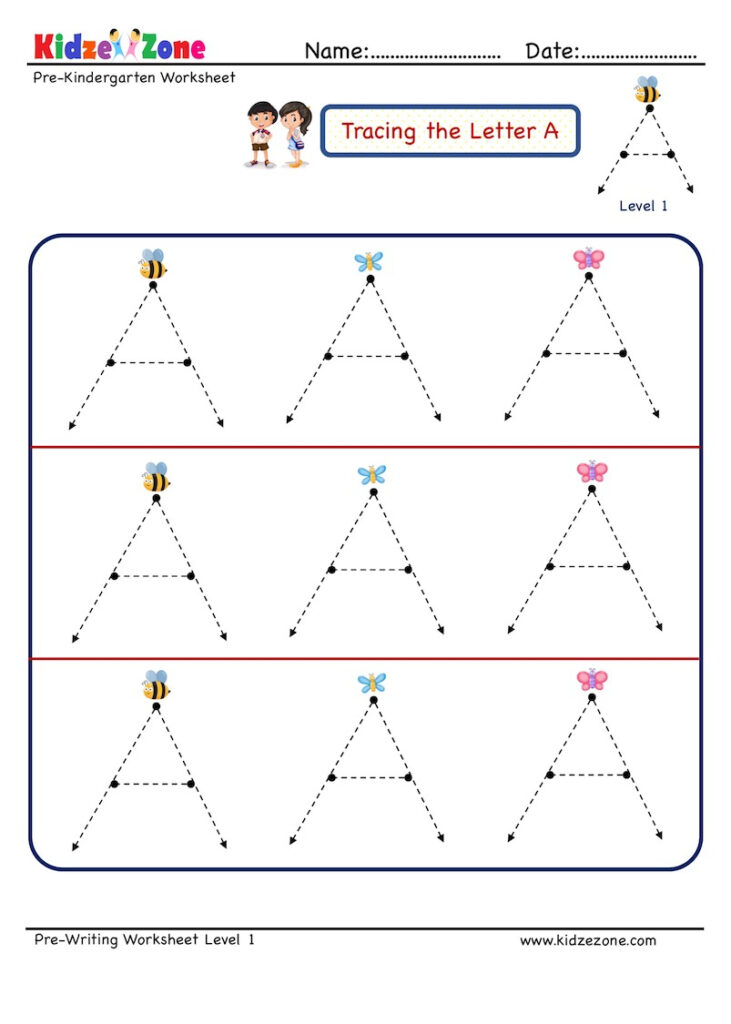 Preschool Letter Tracing Worksheet   Letter A, Level 1 Throughout Alphabet Tracing Level 1