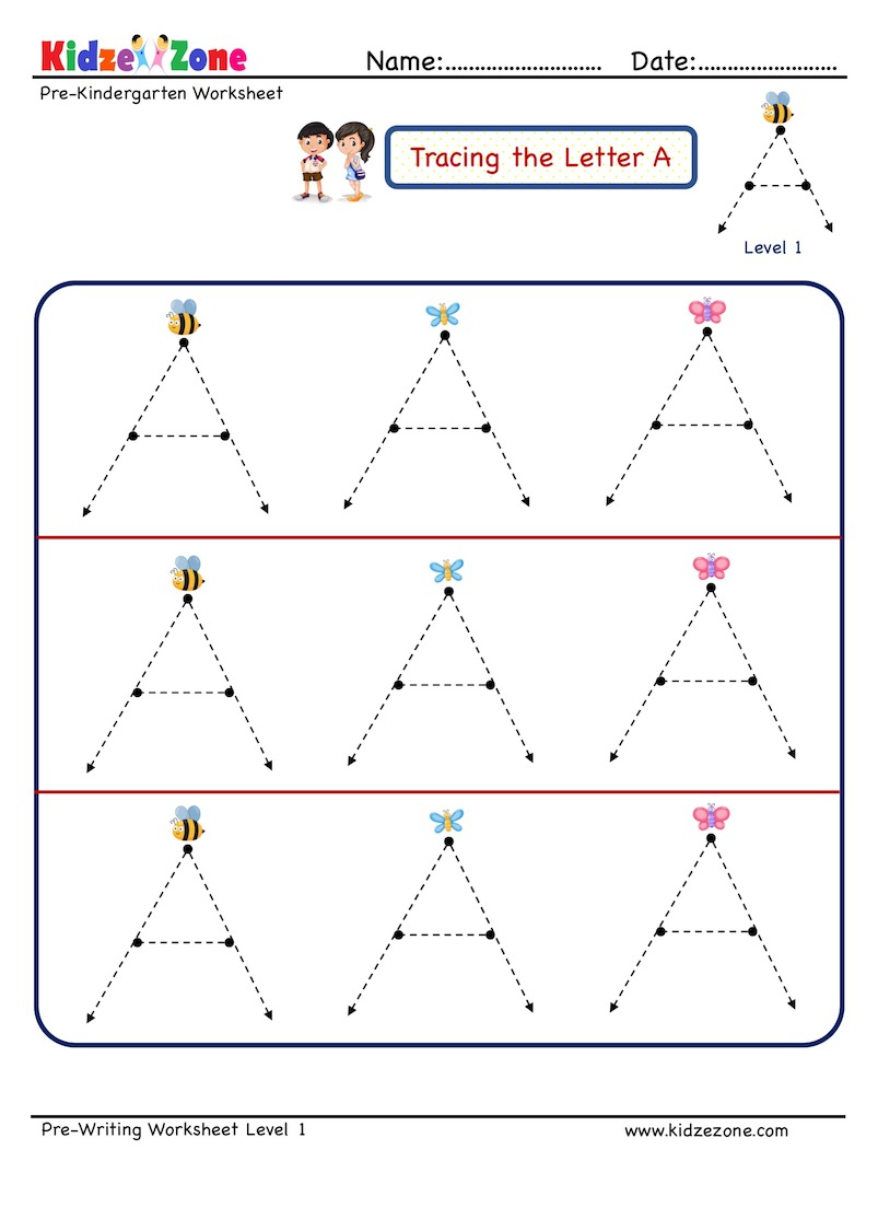 Preschool Letter Tracing Worksheet - Letter A, Level 1 throughout Alphabet Tracing Level 1