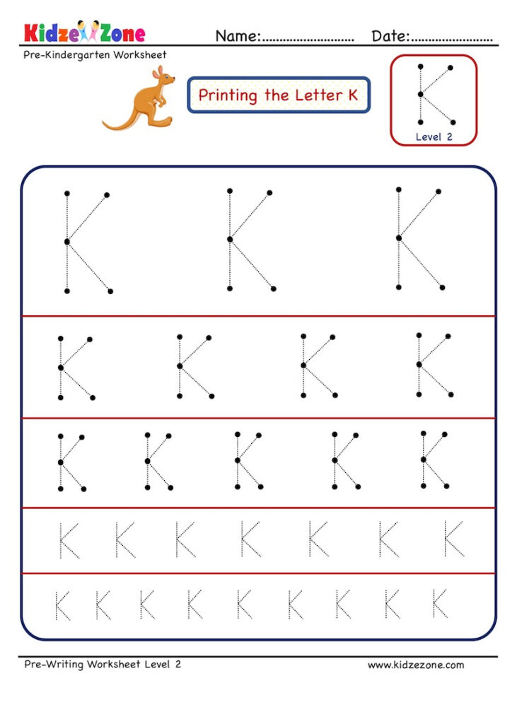 Preschool Letter Tracing Worksheet   Letter K Different