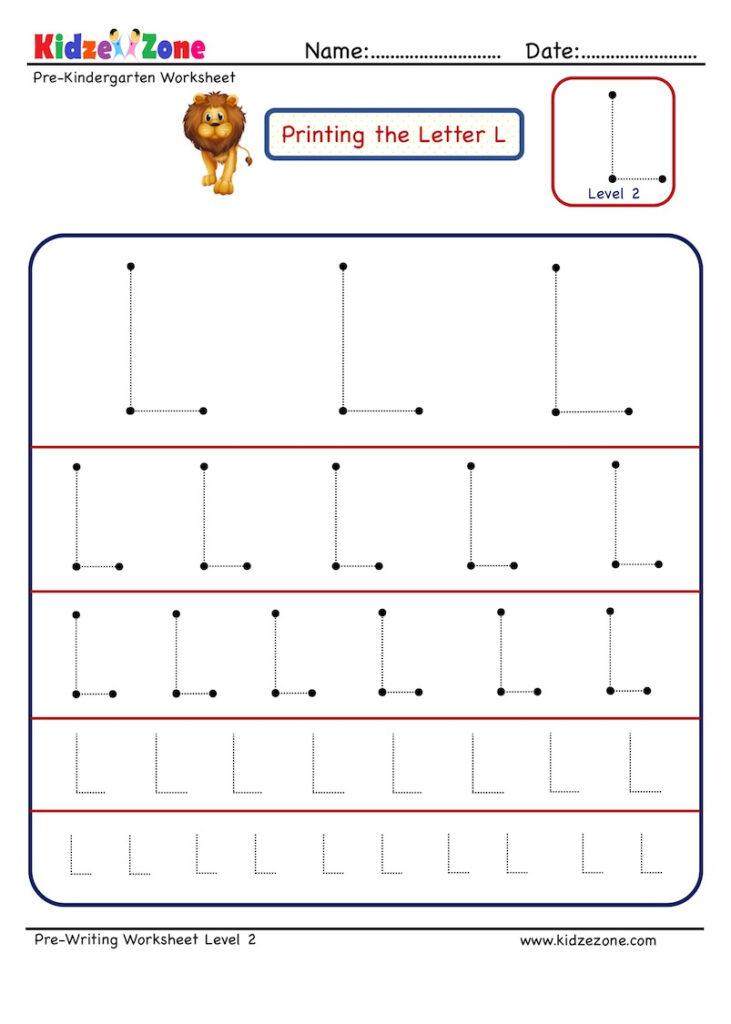 Preschool Letter Tracing Worksheet   Letter L Different In Letter L Tracing Preschool