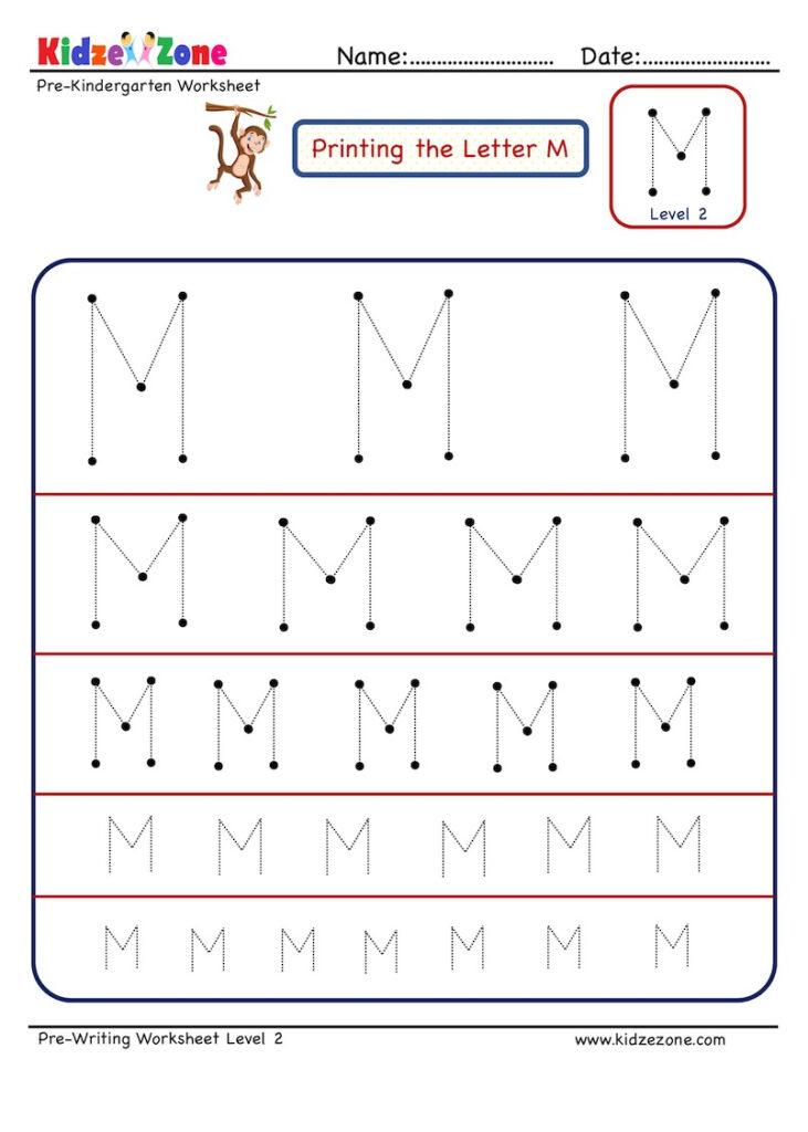 Preschool Letter Tracing Worksheet   Letter M Different Inside Letter M Tracing Worksheet