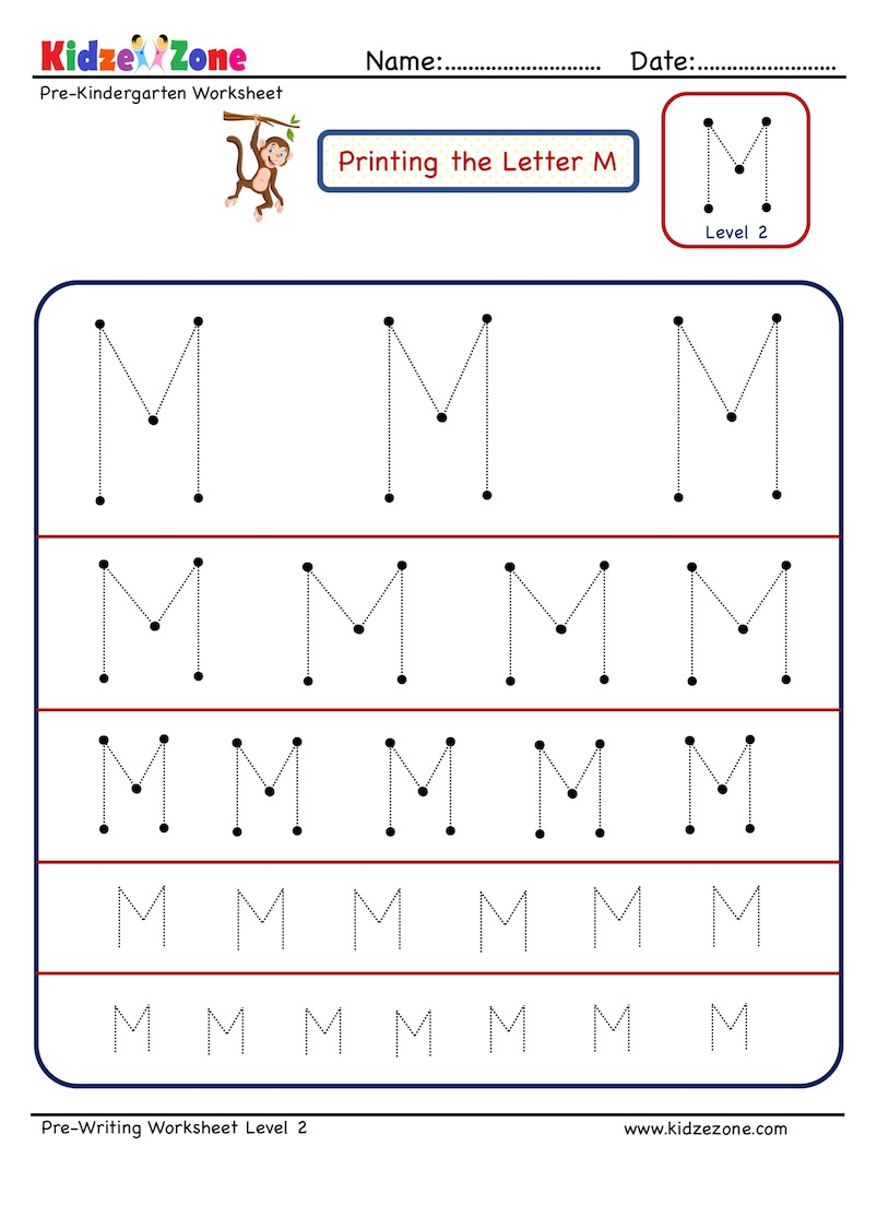 Preschool Letter Tracing Worksheet - Letter M Different