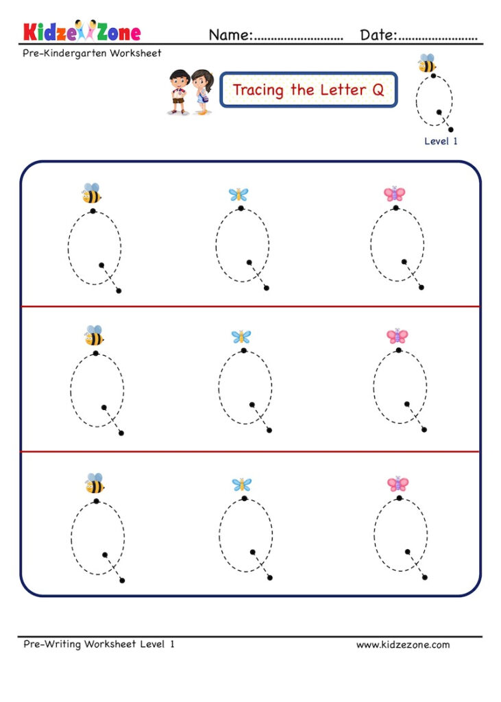 Preschool Letter Tracing Worksheet   Letter Q, Big Font Regarding Letter Tracing Q