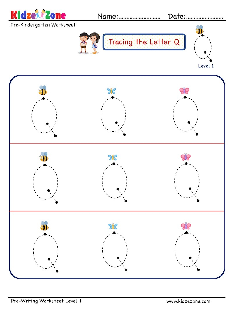 Preschool Letter Tracing Worksheet - Letter Q, Big Font regarding Letter Tracing Q