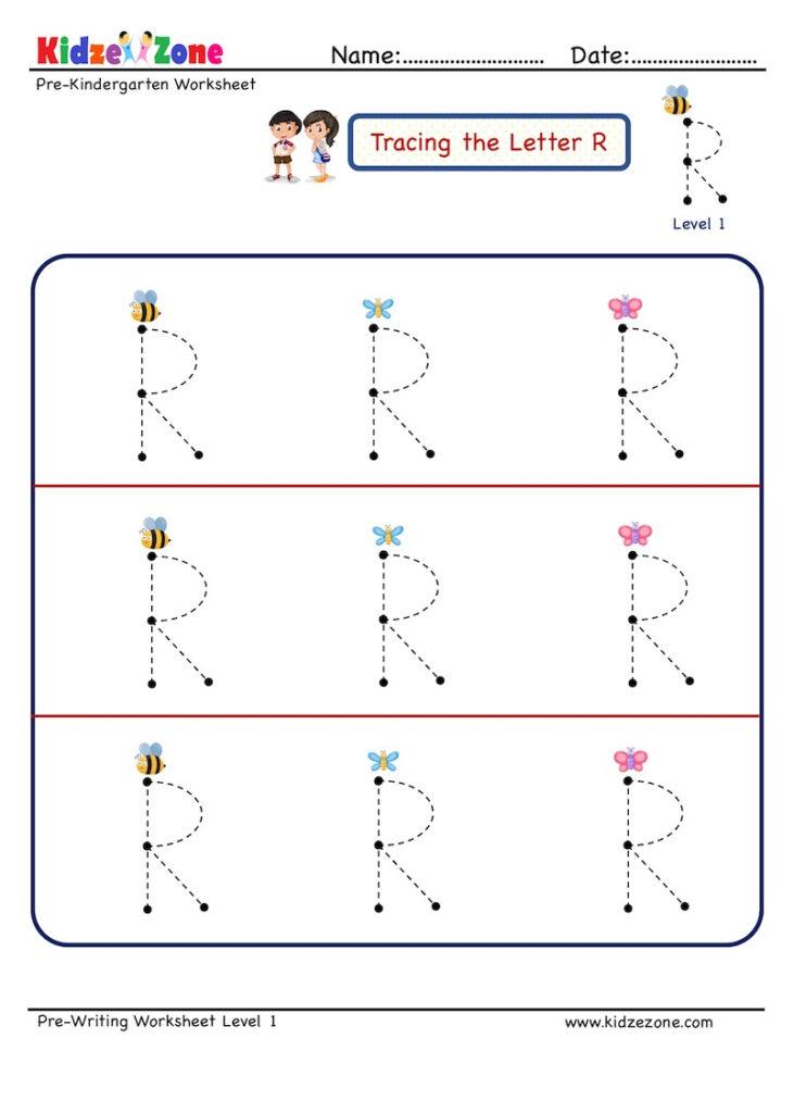 Preschool Letter Tracing Worksheet   Letter R, Big Font Regarding Letter R Tracing Preschool