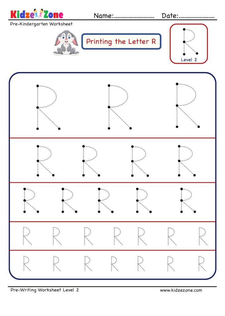 Preschool Letter Tracing Worksheet   Letter R Different With Regard To Letter R Tracing Preschool