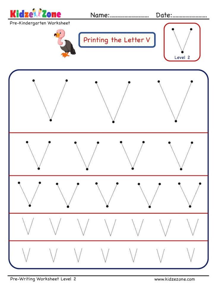 Preschool Letter Tracing Worksheet   Letter V Different Within Letter Tracing V