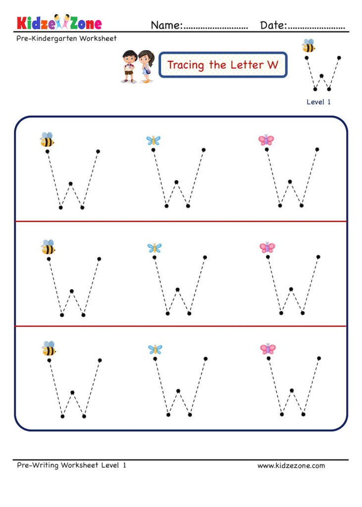 Preschool Letter Tracing Worksheet   Letter W, Big Font Inside Letter W Tracing Worksheets