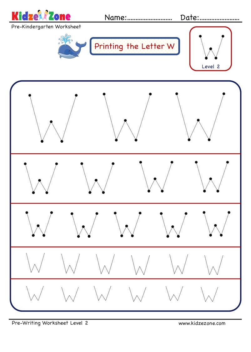 Preschool Letter Tracing Worksheet - Letter W Different within W Letter Tracing