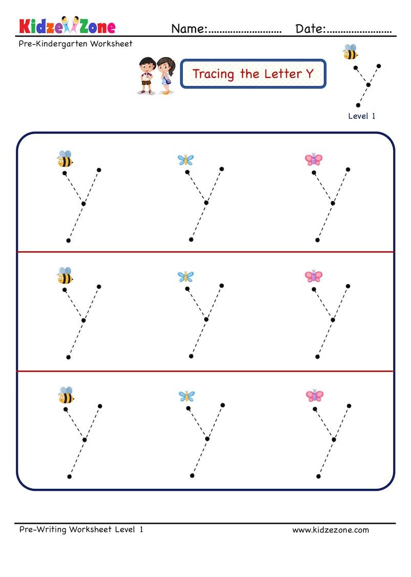 Preschool Letter Tracing Worksheet - Letter Y, Big Font