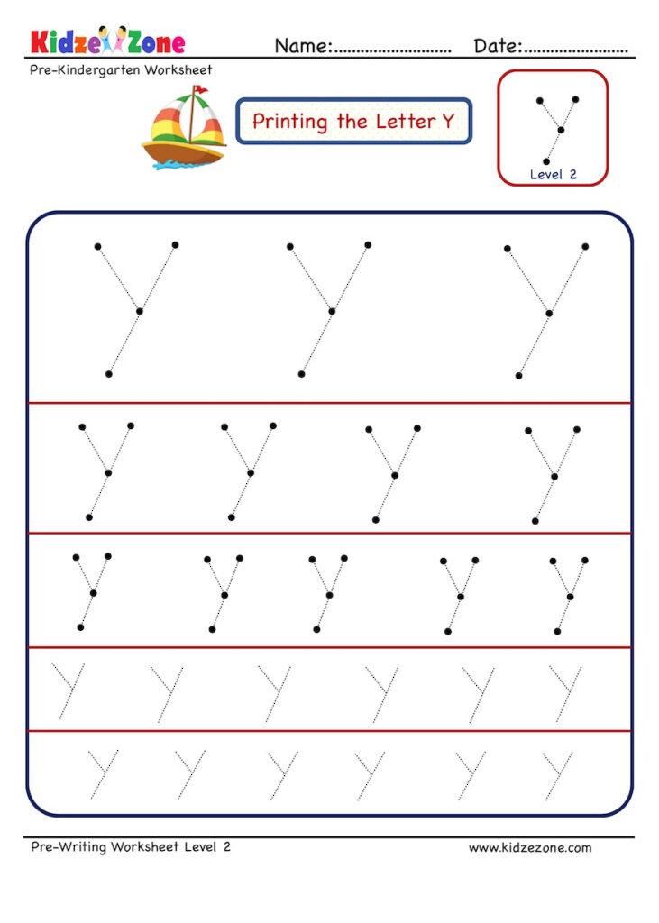 Preschool Letter Tracing Worksheet   Letter Y Different