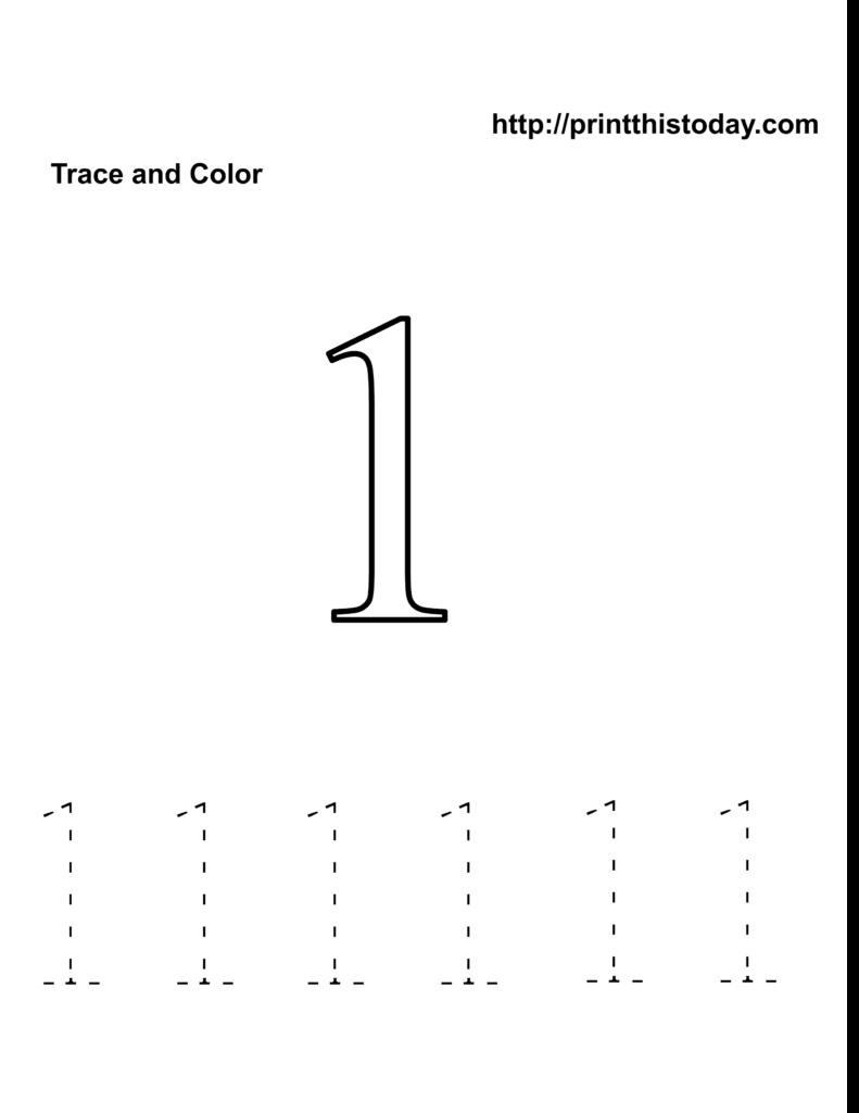 Preschool Number One Worksheet   Number 1 Tracing Worksheets